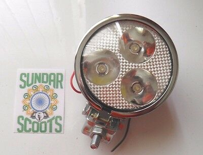 2 12v 3.5 SPOT LIGHTS 3 LED BULBS.YELLOW/AMBER LENS CHROME CASE.LAMBRETTA/VESPA Auto Parts and Vehicles Auto Parts & Accessories
