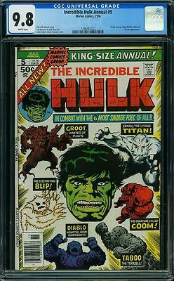 Incredible Hulk Annual #5 Gc 9.8 White Pages Highest Graded #1396461022