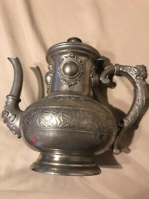 Antique Vintage German Art Nouveau Pewter Tea/Coffee Pot Service Gerhardi #1580