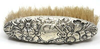 "Vintage Sterling Silver Brush Embossed with Flowers & Monogrammed  ""S"" in Shield"