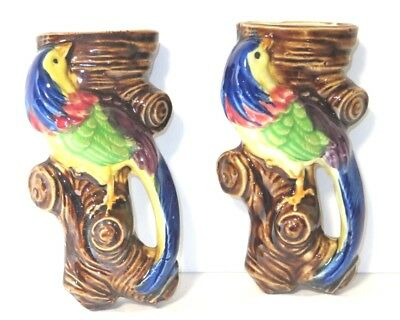 Pair of Vintage Wall Pocket Bird Planters - Colorful - Japan