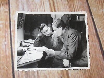 Vintage Military Photo WW I or WW II Two Soldiers Seated At Desk Gay Interest