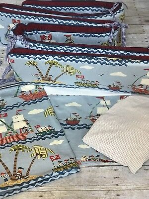 "4 Piece Crib Set Hoohobbers ""Ahoy"" Pirate Themed Bedding Set"