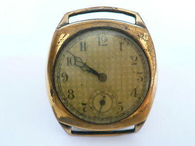 Vintage 1930's Mens Cushion Watch 15 Jewels EW Movement Filled Gold