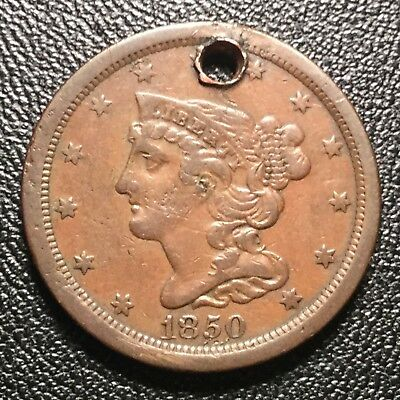 1850 Braided Hair Half Cent (hole) but incredible condition!