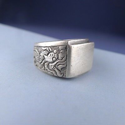 Antique Chinese Sterling Silver Dragon Men's Ring