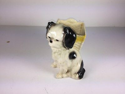 Germany Dog Planter - Old - Shih Tzu Black & White Small Puppy