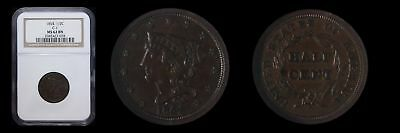 1854 1/2C Braided Hair Half Cent NGC MS62BN C-1