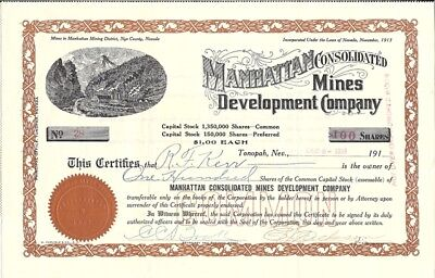 MANHATTAN CONSOLIDATED MINES DEVELOP CO 1918  issued & uncancelled stock certif