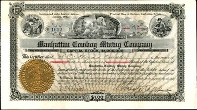 MANHATTAN COWBOY MINING CO 1906  issued & uncancelled stock certificate