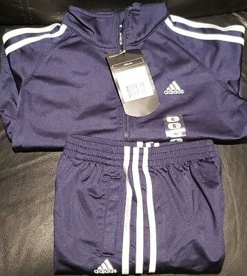 ADIDAS NWT 2 PC Top/Bottom Track Suit Kids Navy/White size 6