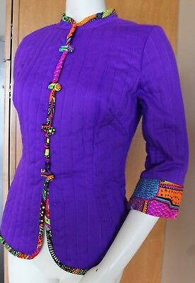 Vtg ALICE OF CALIFORNIA 1960's Mod Purple Quilted jacket Psychedelic loop button