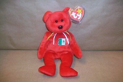 New 1999 Ty Beanie Baby OSITO Mexican Bear With Hang And Tush Tag Errors
