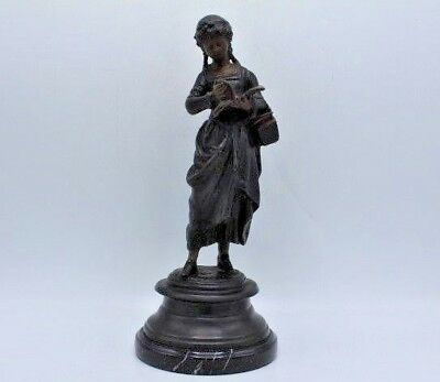 """Vintage Decorator Bronze Statue of a Girl Reading a Book ~ 14"""" Tall"""