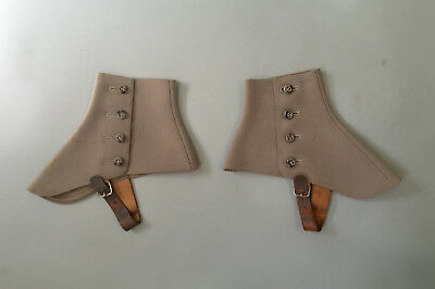 1930s Vintage Wool Spats Leather Buckles Side Button 1920s
