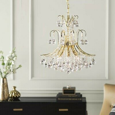 "US BRAND French Empire 6 Light GOLD Finish Crystal Chandelier 16""x15"" MINI SMALL"