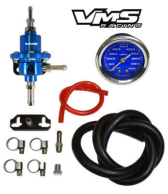 VMS RACING ADJUSTABLE Fuel Pressure Regulator Gauge Kit Blue For Toyota  Supra