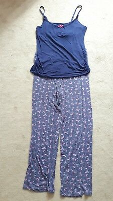 Marks and Spencer Navy Pink Maternity Nursing Pyjamas Size 12