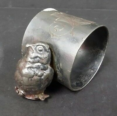 Silverplate NAPKIN HOLDER Figural CUCKOO J.A. BABCOCK & Co. 1870's Antique