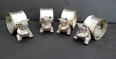 Vintage International Silver Co. Silverplate Napkin Ring Holders with BEAR x 4