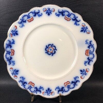 """Antique W.H. Grindley """"Countess"""" Flow Blue Dinner Plate 9 3/4"""" Rust And Gold 10S"""