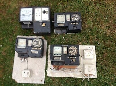 vintage electricity meters, 4 in total.
