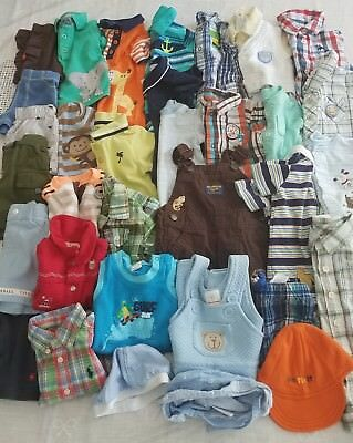 Baby Boys Lot Of 33 Clothes/rompers+ Sz Nb, 0-3, 3 M. Tea Collection/cat & Jack+