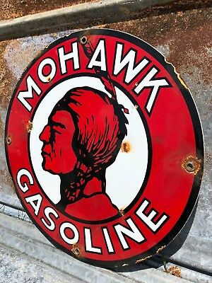 Mohawk Gasoline Porcelain Pump Plate Lubester Service Station Garage Sign Oil