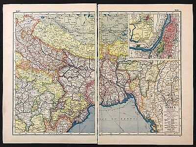 Vintage Map 1920 India, Inset of Calcutta , Section 2 - Harmsworth's Atlas A3BK3
