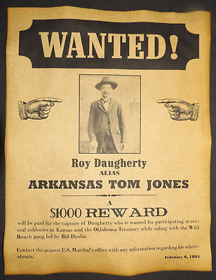 Roy Daugherty alias Arkansas Tom Jones Wanted Poster, Western, Outlaw, Old West