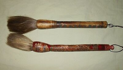 Vintage Pair Chinese Japanese Bone and Wood Calligraphy Paint Brush