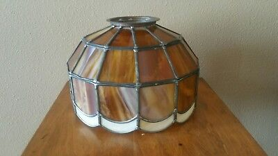 Heavy Handmade antique / vintage leaded amber cream Stained Slag Glass Shade