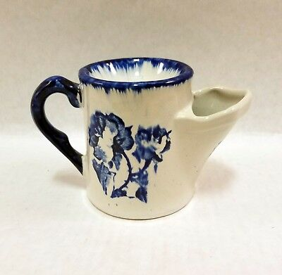 Late 19thC FLOW BLUE MUSTACHE CUP Mug ENGLISH IRONSTONE Cabbage Rose