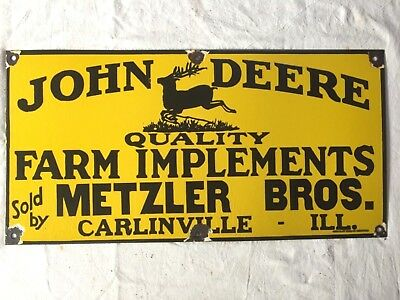 "Vintage Porcelain John Deere Farm Implements 24""x12"" Enamel Sign."