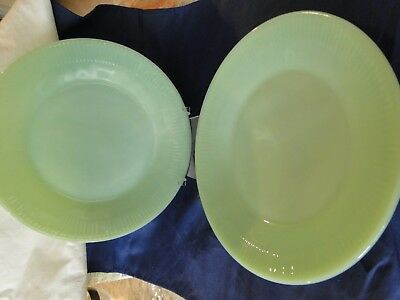 "2 Fire King Jane Ray Jadite Dinner Plates, 9"" Diameter, VG Cond."