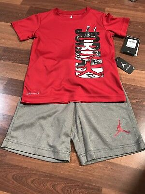 NWT- NIKE Air Jordan Red/Gray DRI-FIT 2 Piece Short set Size 6