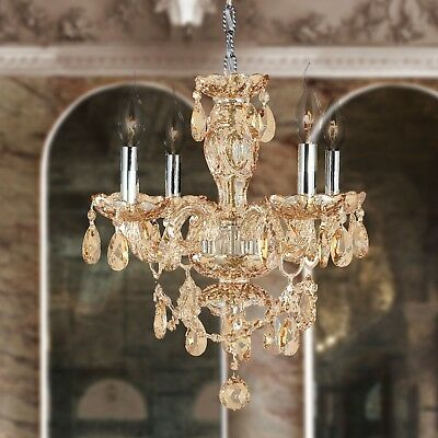 "CLEARANCE SALE Provence Venetian 4 Light Amber Crystal Chandelier D17""xH18"" Mini"