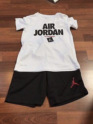 NWT- NIKE Air Jordan Black / White  DRI-FIT 2 Piece Short set Size 6