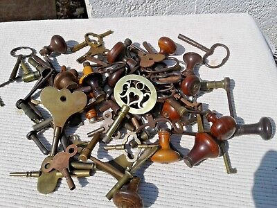 Job Lot 52 Antique Clock Winding Keys - Fusee Bow Grandfather Etc & Cabinet Keys