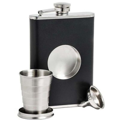 8oz Black Flask Collapsible SHOT GLASS Stainless Screw Cap Pocket & Funnel HA