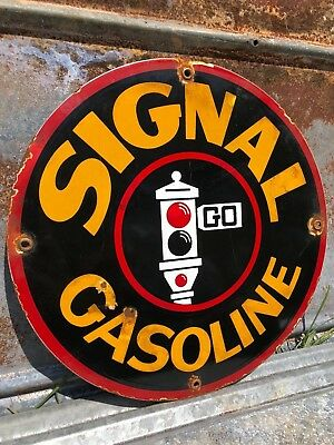 Signal Gasoline Heavy Porcelain Sign Pump Plate