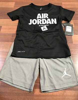 NWT- NIKE Air Jordan Black / Gray DRI-FIT 2 Piece Short set Size 6