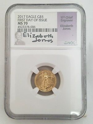 2017 1/10 oz American Gold Eagle $5 Coin NGC MS 70 Elizabeth Jones Label (42)