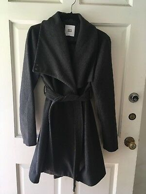 Maternity Coat wool wrap style funnel neck belted dark gray from Mamalicious L