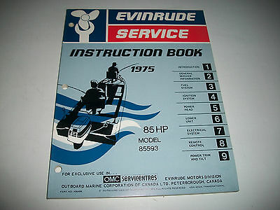 1975 Evinrude ( Johnson)  85 Hp Model # 85593 Oem Service Shop  Manual Clean