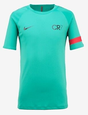 Nike Youth CR7 Academy Pewter S/S Top Soccer Green Kid Boy Tee Shirts 894870-348