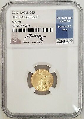 2017 1/10 oz American Gold Eagle $5 Coin NGC MS 70 Edmund Moy 1st Day Issue (45)