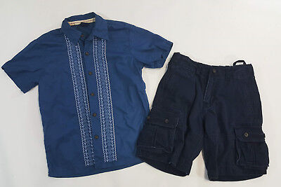 Gap Kids Boys Size Small 6-7 Blue Embroidered Top & Cargo Navy Shorts Size 7