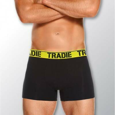 Mens 3 Pack Tradie S-2XL Cotton Boxer Shorts Fitted Trunk Black Brights (4WK3)