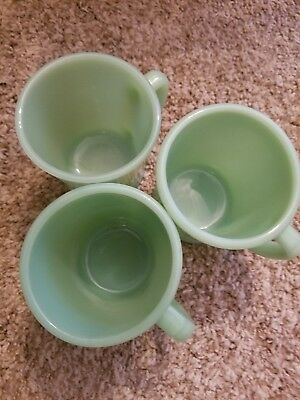 VINTAGE FIRE KING JADEITE SLIM CHOCOLATE D HANDLE MUGS (x3)